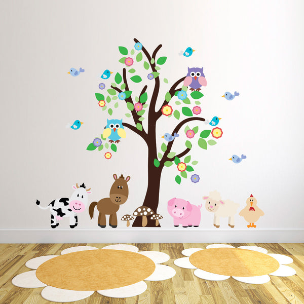 Tree With Farm Animals Wall Decal