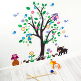 Tree With Woodland Animals Wall Art