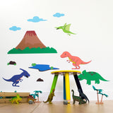 Dinosaur With Volcano Wall Decals
