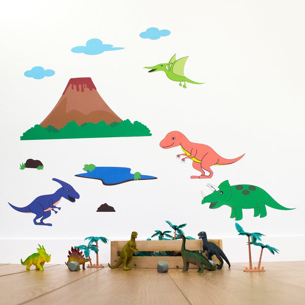 Dinosaur With Volcano Wall Stickers