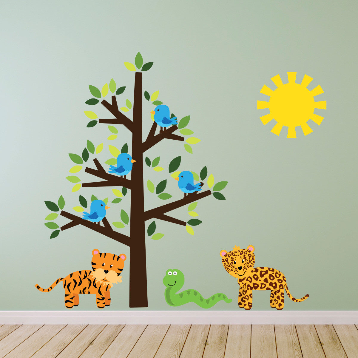 Wild Animals and Tree Wall Sticker