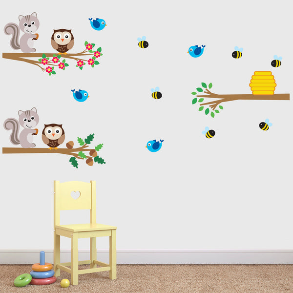 Woodland Animals Branch Wall Stickers