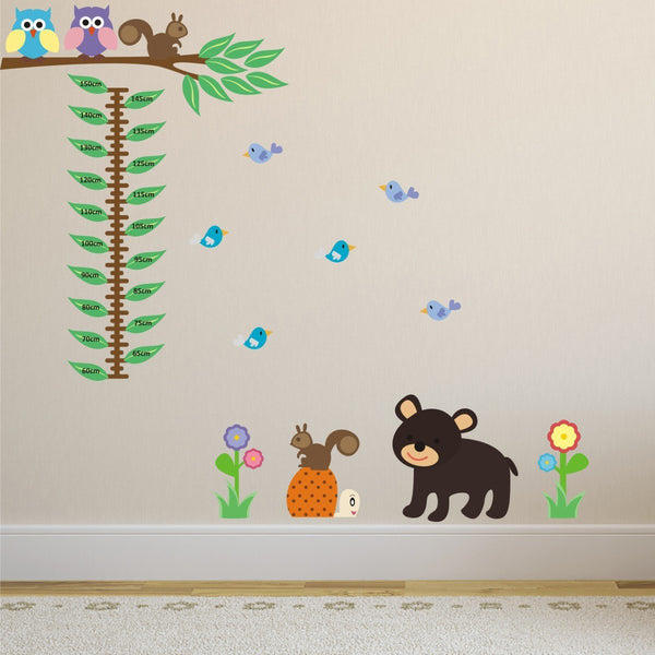 Woodland Animals Growth Chart Wall Sticker