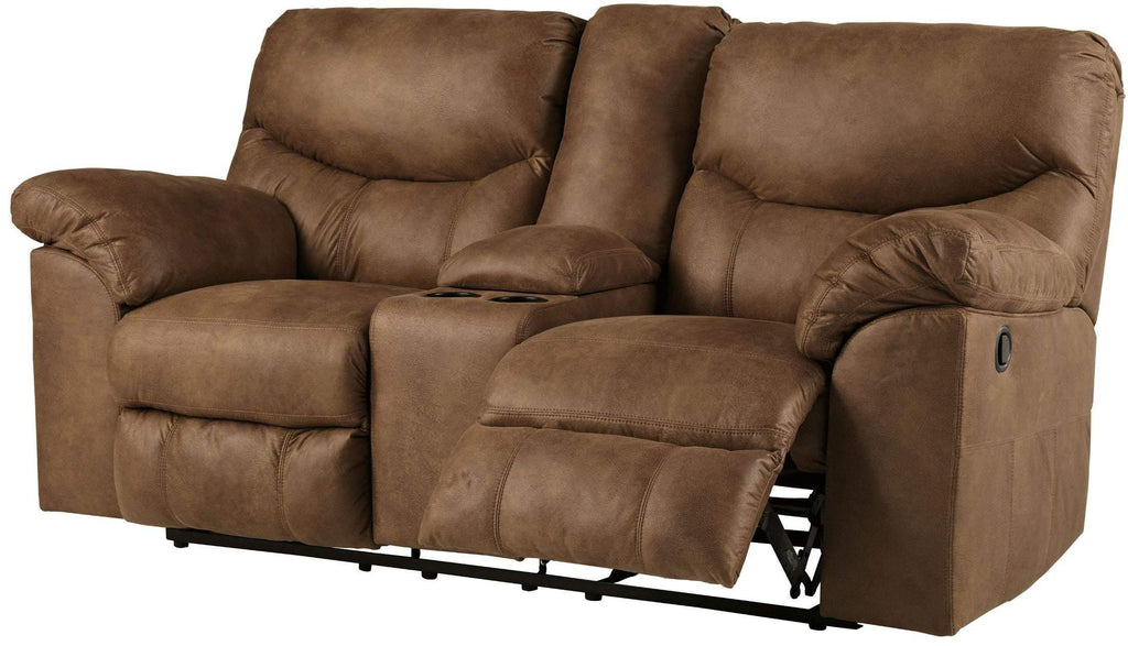 Ashley Boxberg Double Reclining Loveseat with Console in Bark