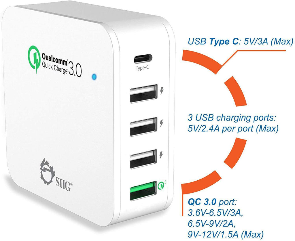 SIIG 5-Port Smart USB Charger plus Organizer Bundle with QC3.0 & Type-C
