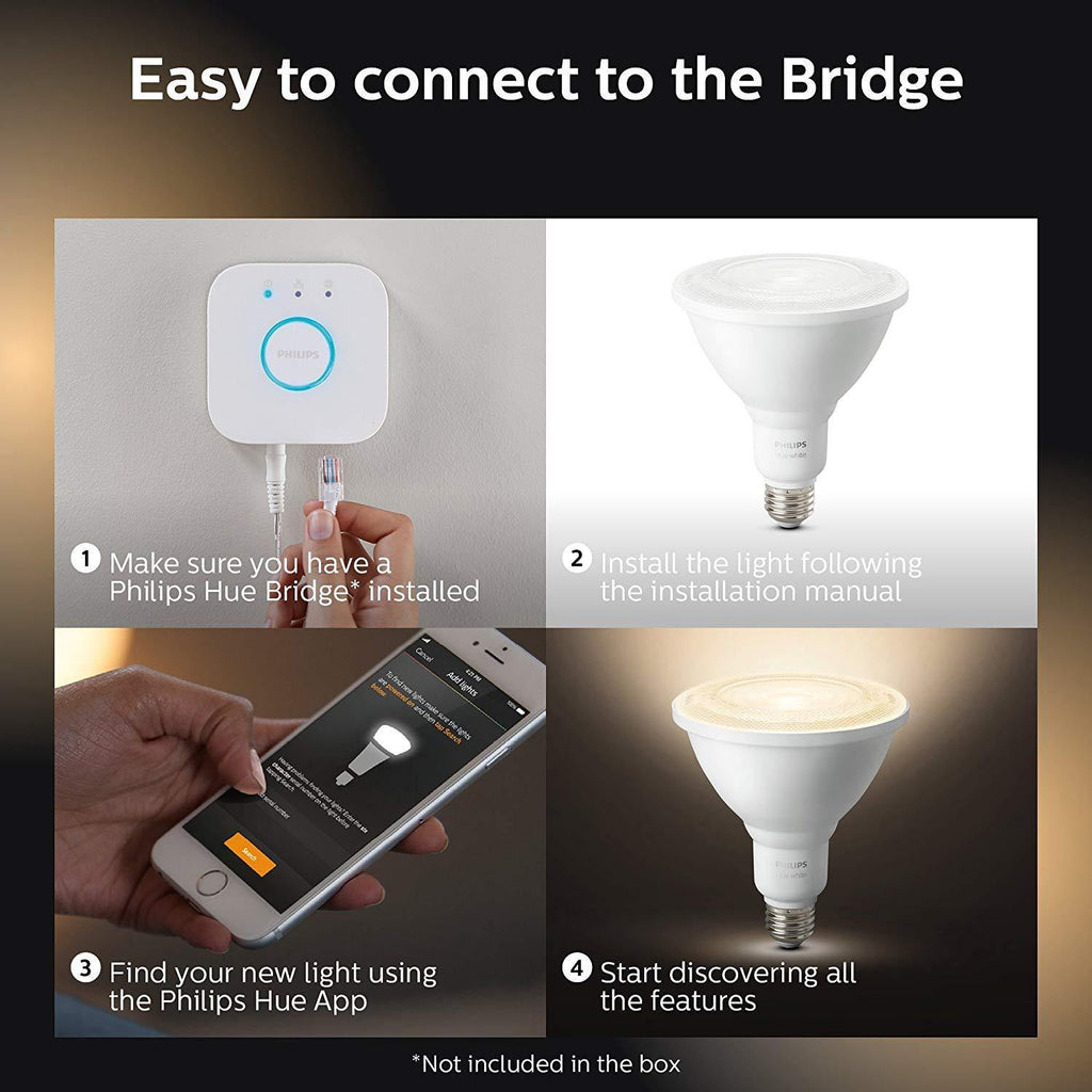 Philips Hue White Outdoor PAR38 14W Smart Bulbs 2-Pack