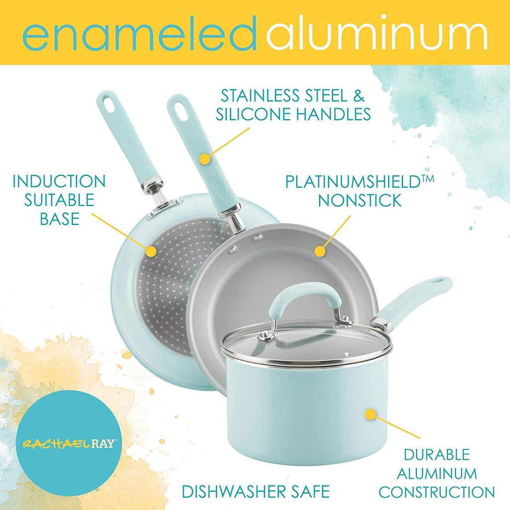 Rachael Ray® Enameled Aluminum 13-Piece Cookware Set in Light Blue Shimmer - Smart Neighbor