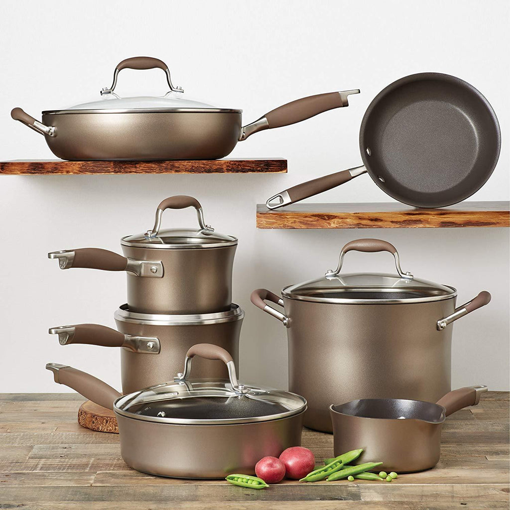Anolon Advanced 12-Piece Hard-Anodized Nonstick Cookware Set in Bronze