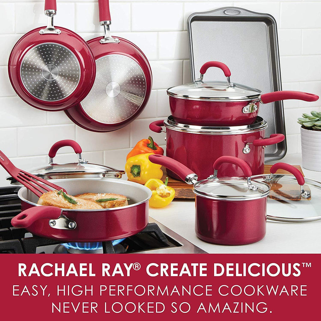 Rachael Ray 13-Piece Aluminum Cookware Set in Red Shimmer