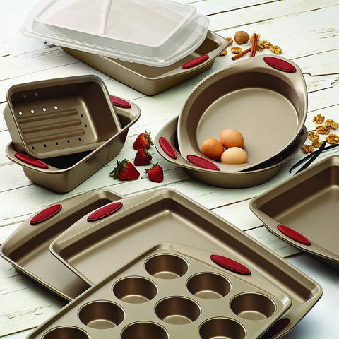 Rachael Ray® 10-Piece Steel Nonstick Bakeware Set in Cranberry Red