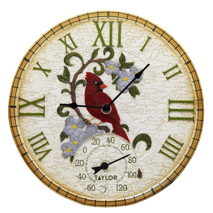"14"" Cardinal Wall Clock w/ Thermometer"