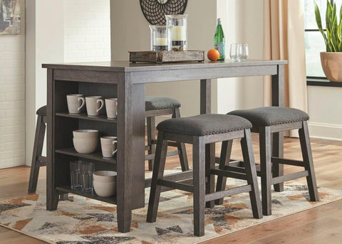 Ashley Caitbrook Dark Gray 5-piece Rectangular Counter Height Table and Upholstered Barstools