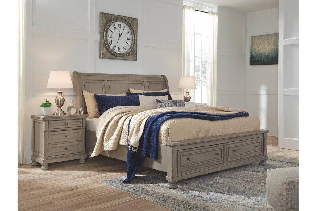 Lettner Sleigh Bed with Storage Footboard