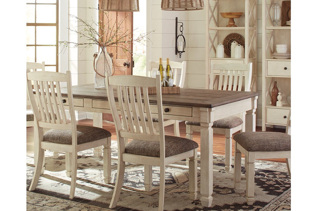 Ashley Valebeck White and Brown 7-piece Rectangular Dining Table with Upholstered Chairs