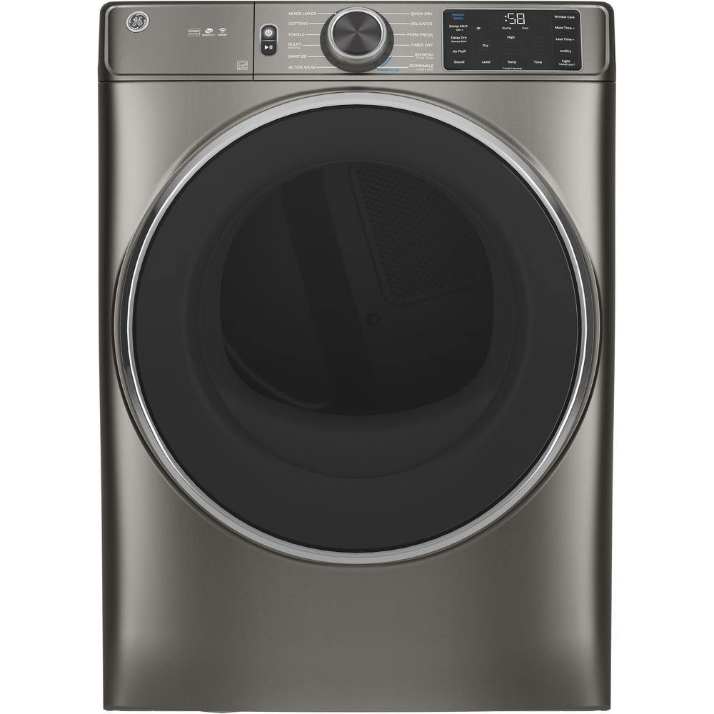 7.8 cu. ft. Smart 240-Volt Satin Nickel Stackable Electric Vented Dryer with Steam, ENERGY STAR