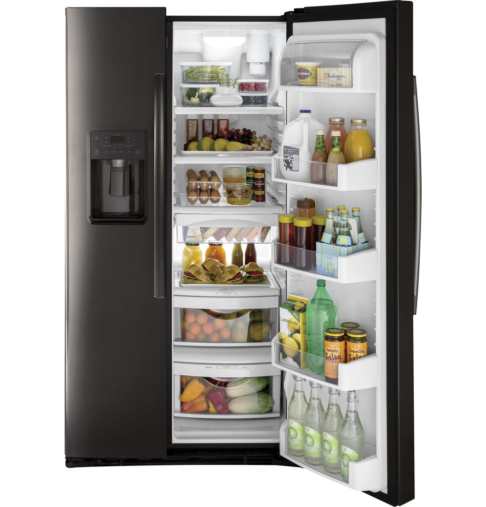 GE 25.3 Cu. Ft. Side By Side Refrigerator in Black Stainless