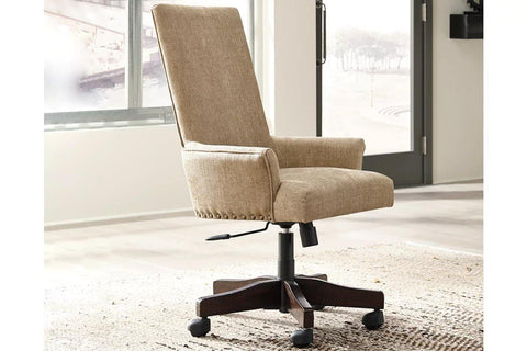 Ashley Baldridge Upholstered Swivel Desk Chair in Light Brown