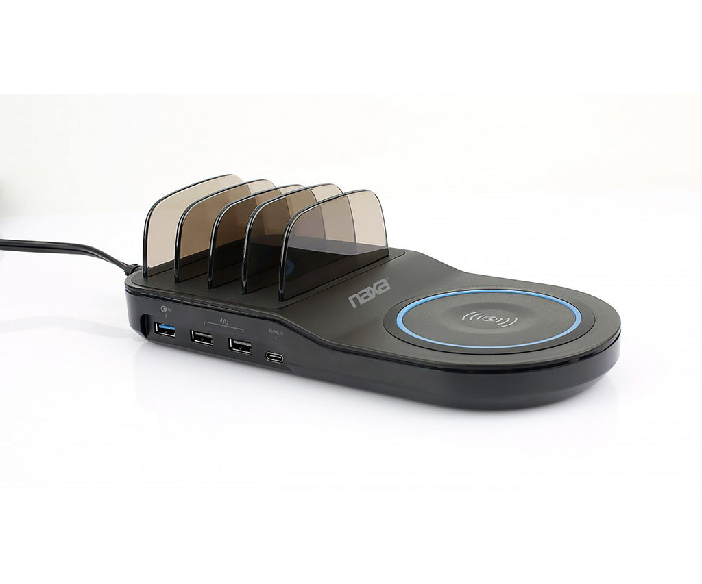 5-in-1 Wireless Fast Charging Station w/ Qi & 4 USB Ports