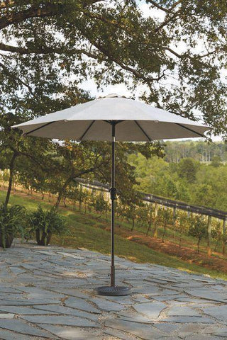 Ashley Beige Medium Auto Tilt Umbrella Set - Smart Neighbor