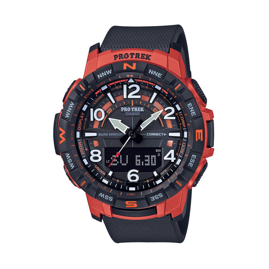 Mens Pro Trek Ana-Digi Quad Sensor Smartphone Link Watch Black/Red