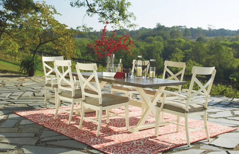 Ashley Preston Bay - Antique White - Dining Set with 4 Chairs & 2 Arm Chairs