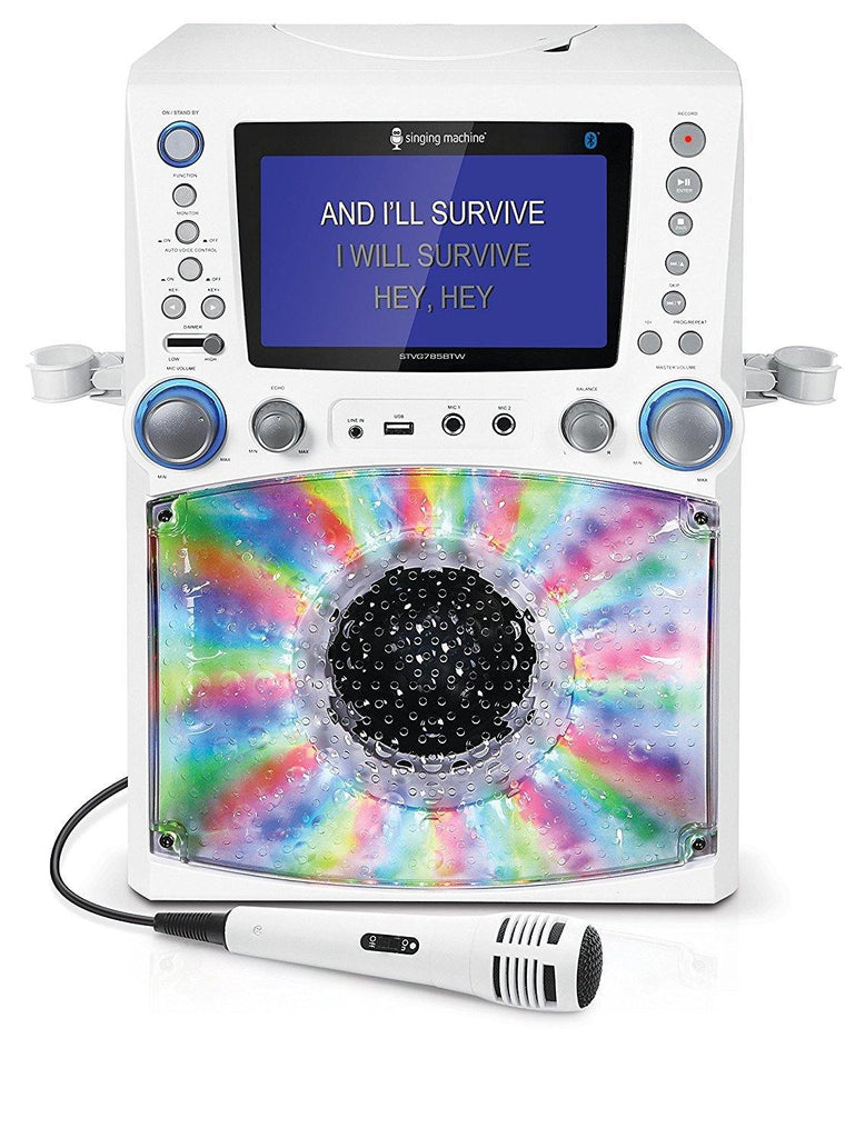 "Bluetooth Karaoke Machine with 7"" LCD Monitor in White"