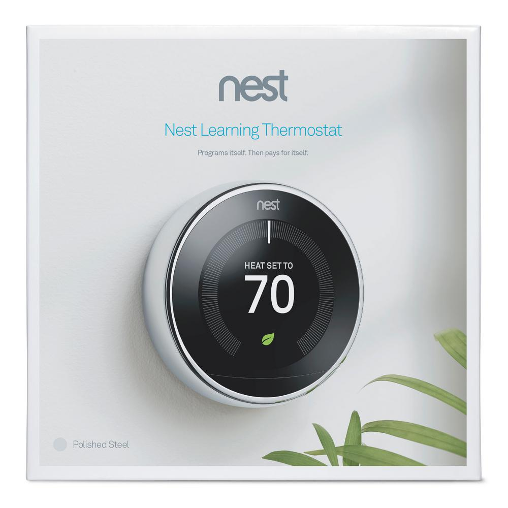 Google Nest Learning Thermostat - 3rd Generation - Polished Steel