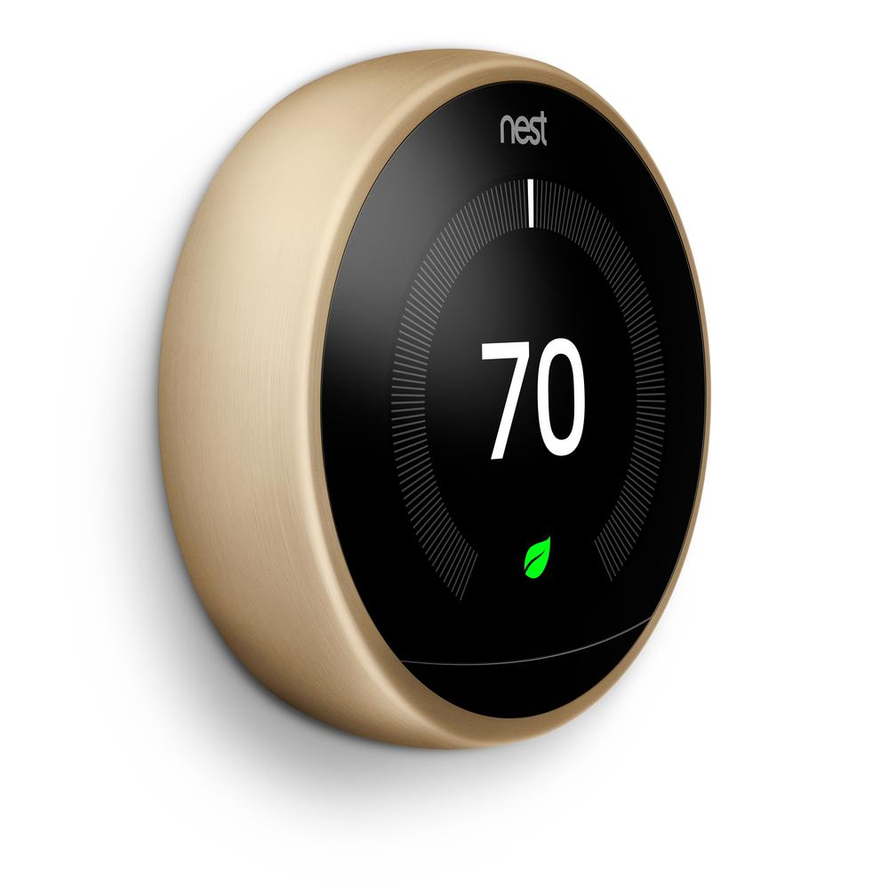 Google Nest Learning Thermostat - 3rd Generation - Brass