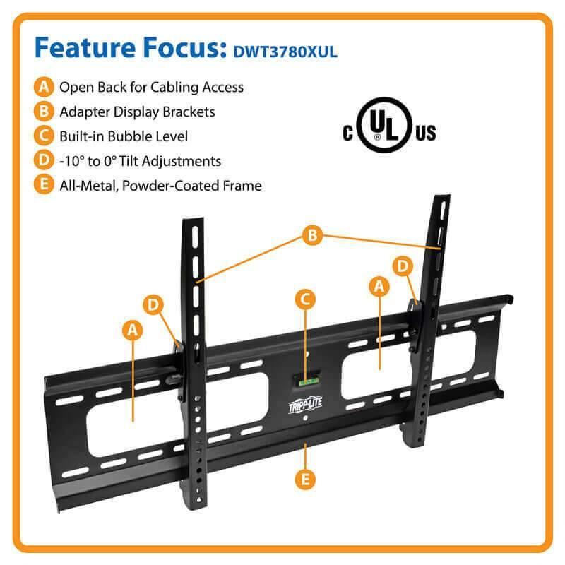 "TRIPP Heavy-Duty Tilt Wall Mount for 37"" to 80"" TVs and Monitors, Flat or Curved Screens, UL Certified"