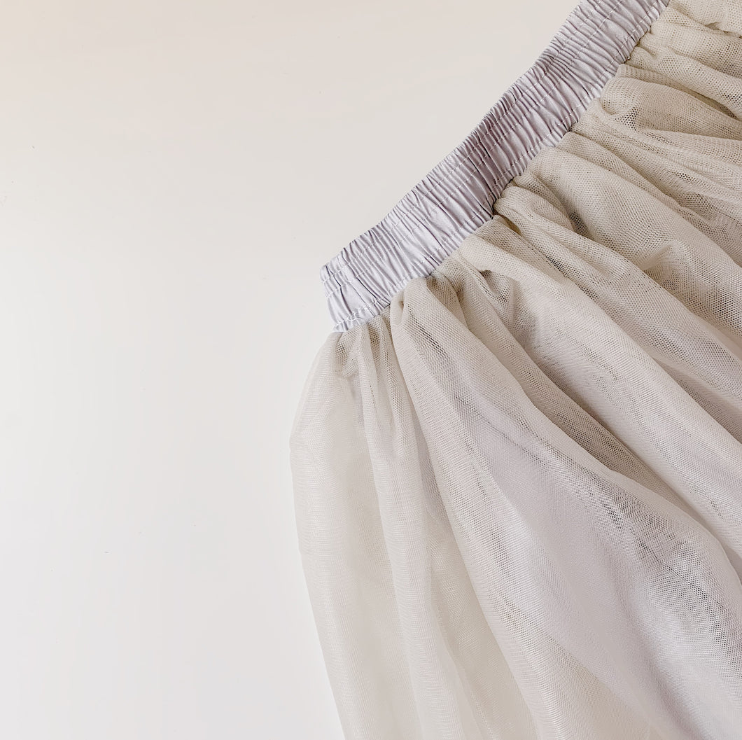 Soft Tulle Skirt in Nimbus Grey