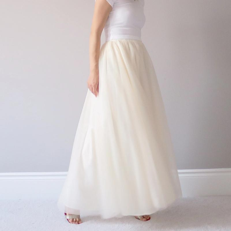 Women's soft maxi tulle skirt ivory Toronto Canada