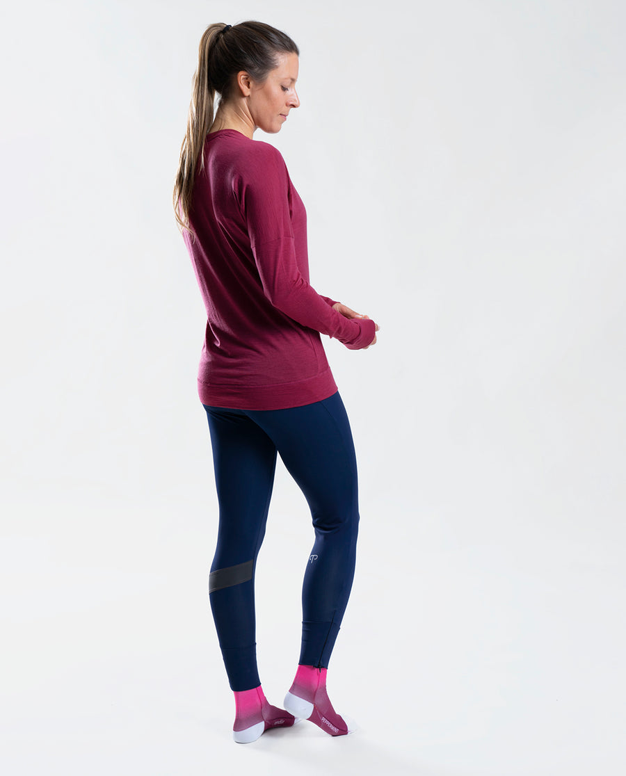 Merino LS Base Layer Burgundy