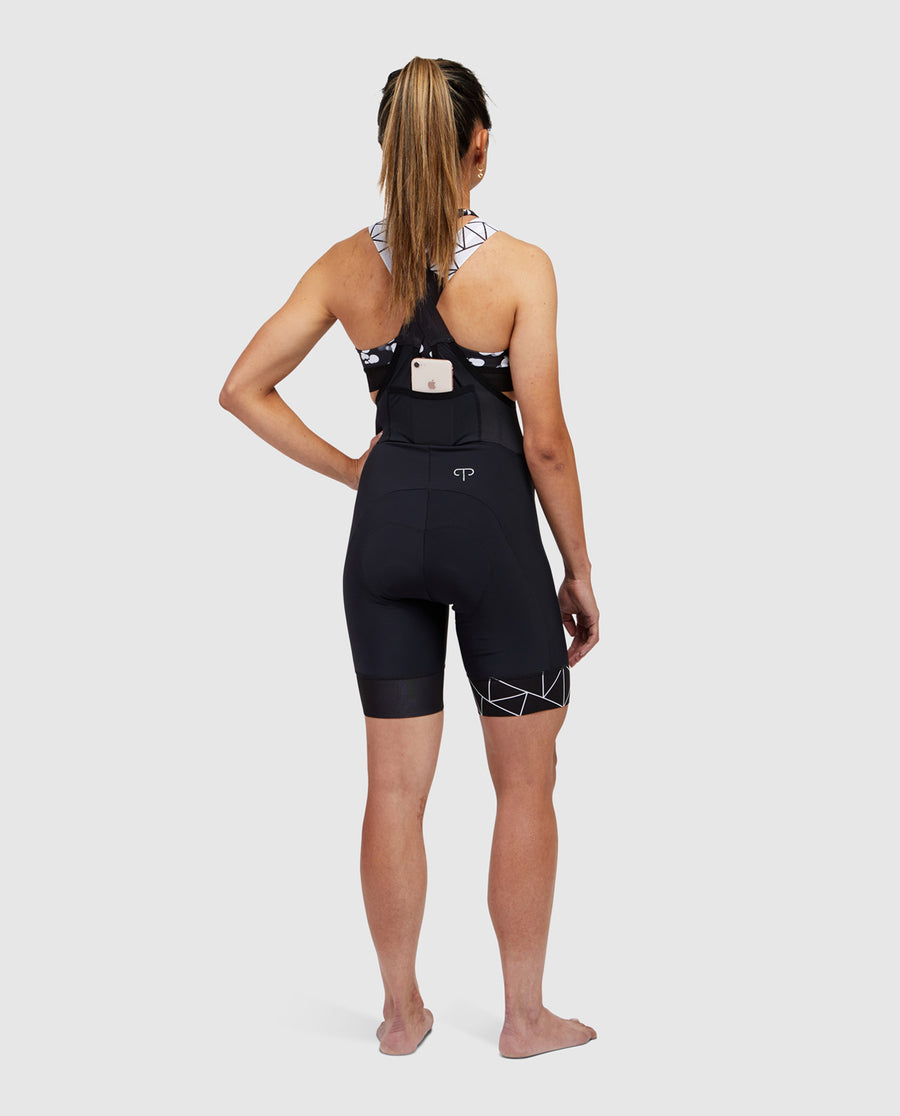 Black Crystalized Bib Shorts