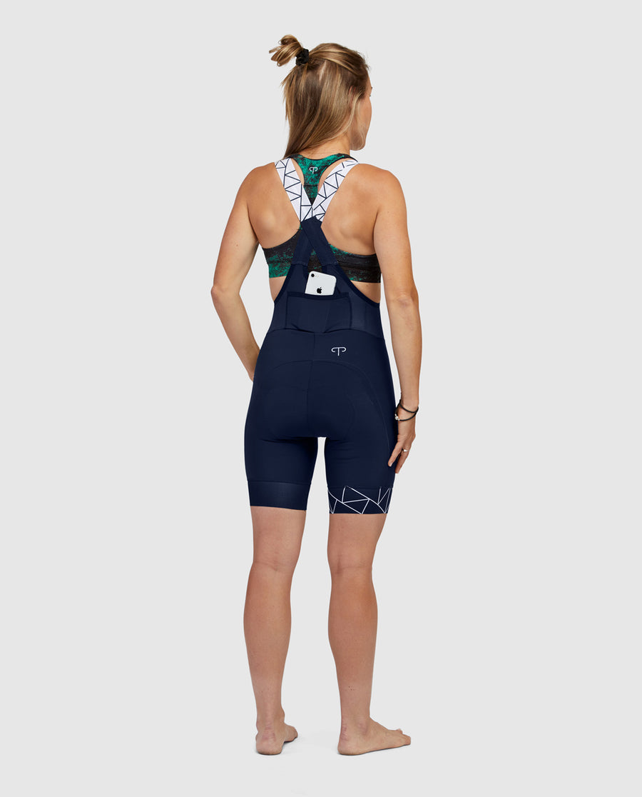 Navy Crystalized Bib Shorts