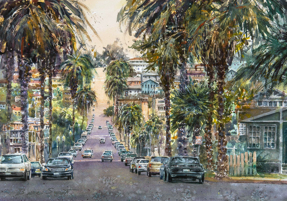 Niagara Avenue, Ocean Beach, San Diego. Original Watercolor Painting.