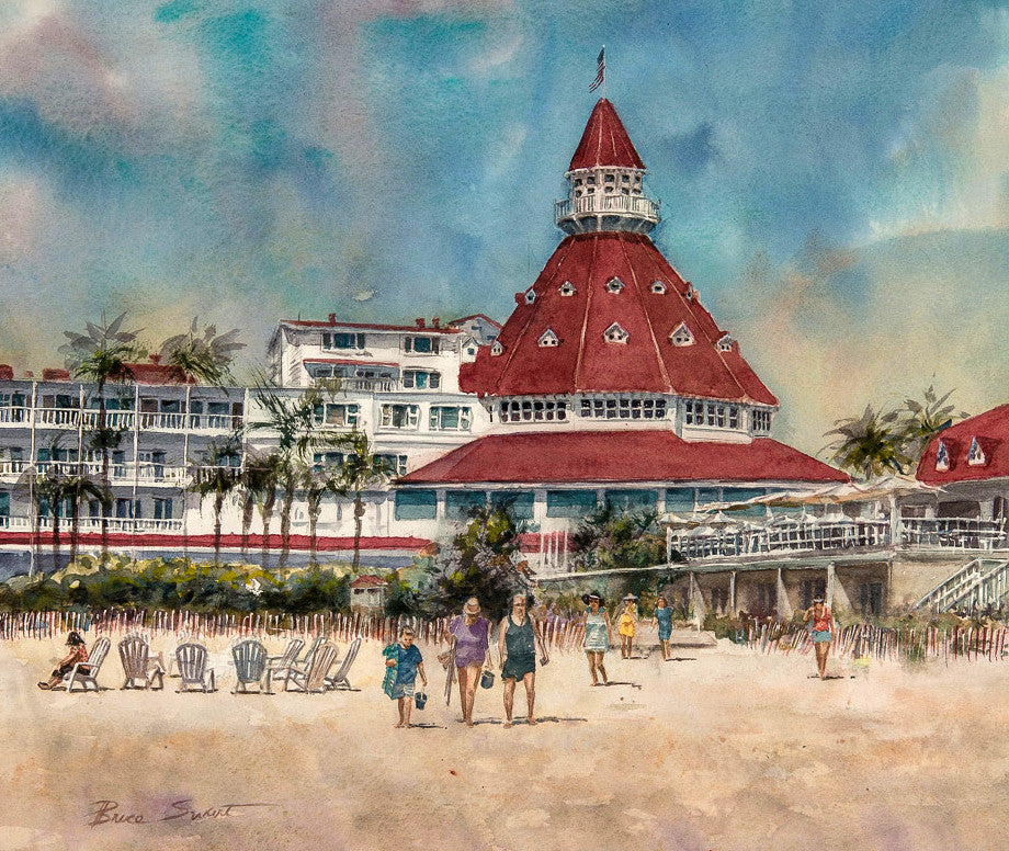 Available: Original Watercolor of the Hotel Del Coronado in Coronado California