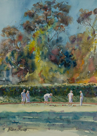Original Watercolor of lawn bowlers in Balboa Park in San Diego.