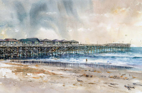 Original Watercolor of Crystal Pier in Pacific Beach, San Diego California. Original Watercolor Painting.