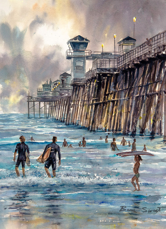 Available: Oceanside pier. Original Watercolor Painting.