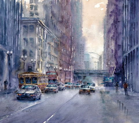 Available: Chicago Scene, Dearborn and Jackson. Original Watercolor painting.