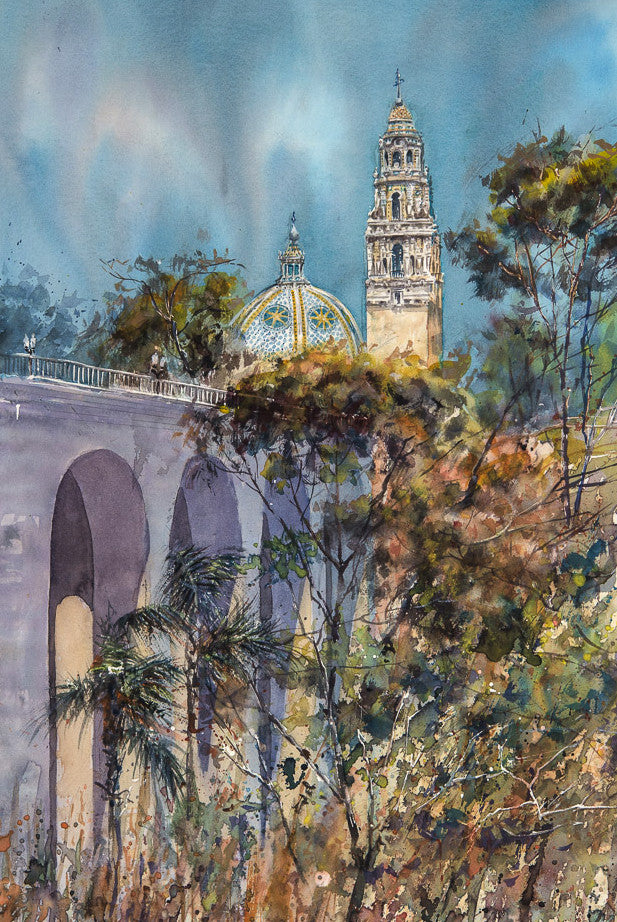 Cabrillo Bridge, entrance to Balboa Park, San Diego. Original Watercolor painting.