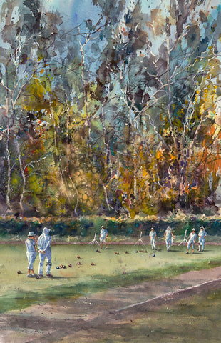 Available: Lawn Bowlers Balboa Park. Original Watercolor Painting.