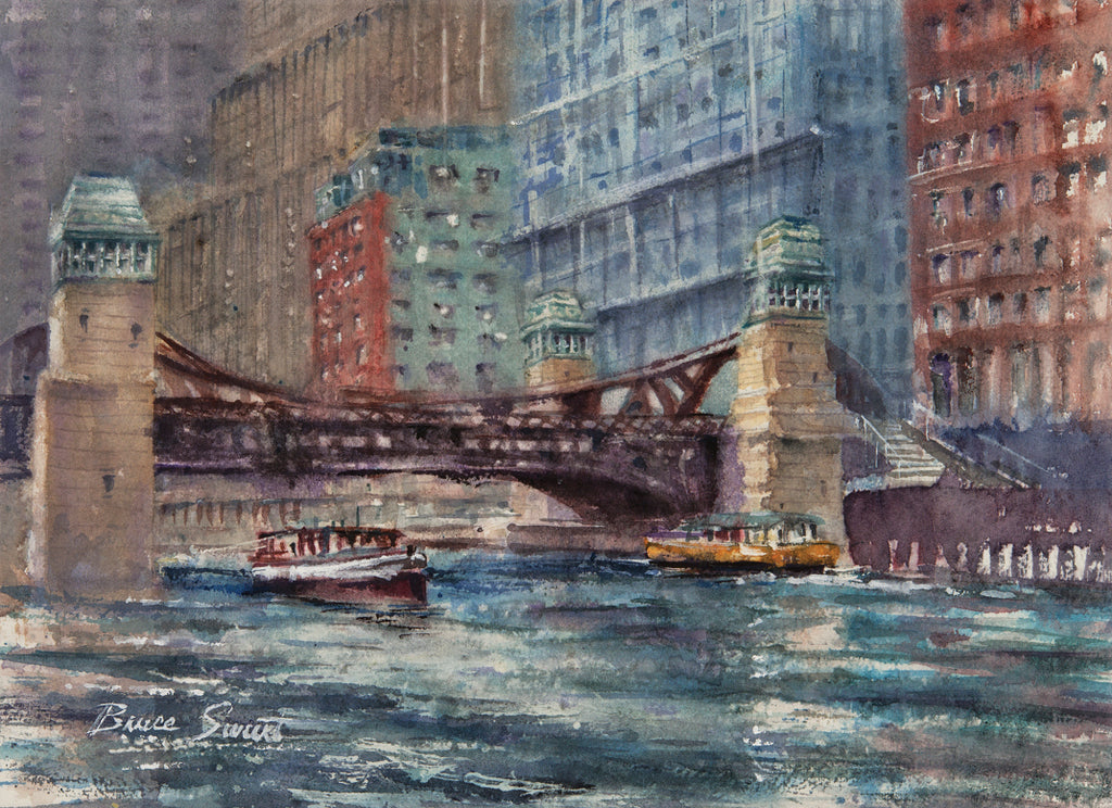 Available: Chicago River West View, 12 inches wide x 9 inches tall.