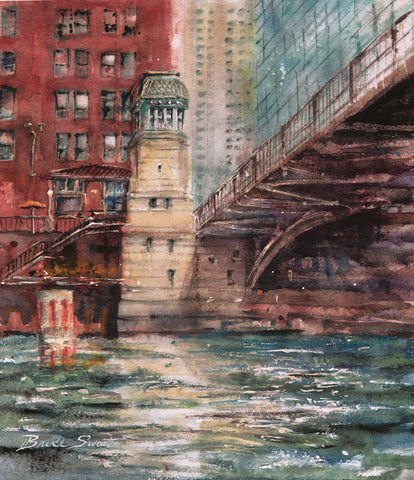 Available: Chicago River Bridge Tower. 10 inches wide x 12 inches tall.