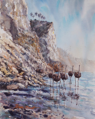 SOLD: Migration of the non-flyers, Blacks Beach. Original Watercolor Painting.
