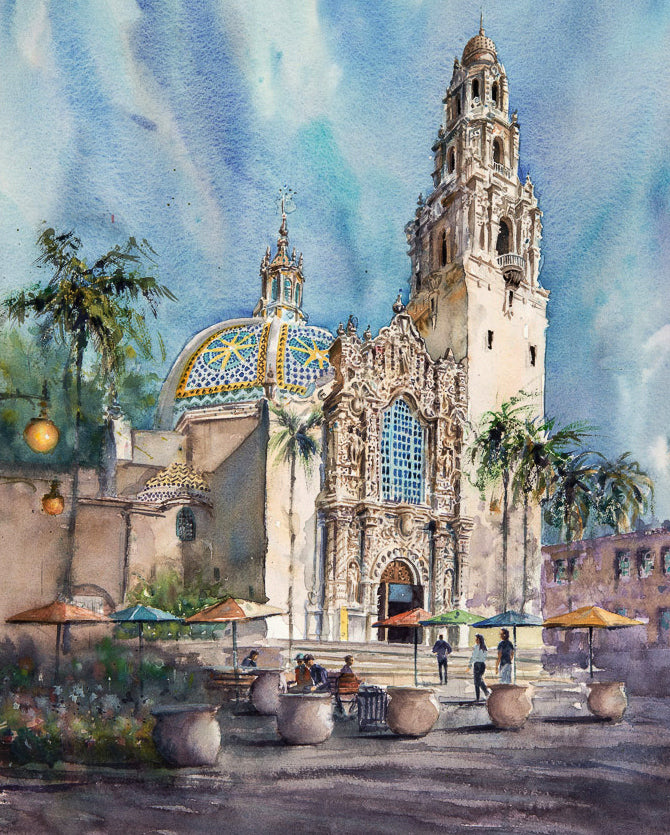 Museum of Man, Balboa Park, San Diego. Original Watercolor Painting.