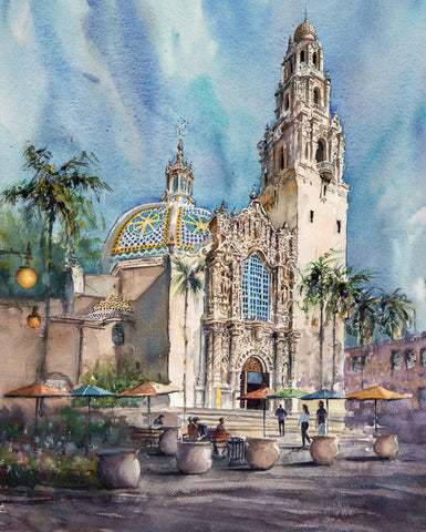 SOLD: Museum of Man, Balboa Park, San Diego. Original Watercolor Painting.