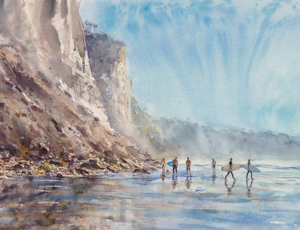 Hide Tide, a walk on Black's Beach. Original Watercolor Painting.