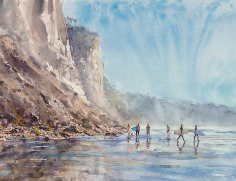 SOLD: Hide Tide, a walk on Black's Beach. Original Watercolor Painting.