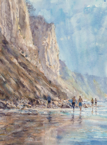 Walking South Blacks Beach at High Tide Watercolor Painting